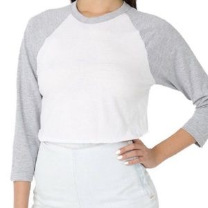 AA White Gray 50/50 Crop Baseball Tee Top